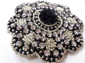 Sparkling Beaded Black and Silver Crystal Rhinestone Hair Clip