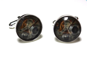 Glass Dome Covered Digital Image of Watch Gears in Silver Plated Cuff Links