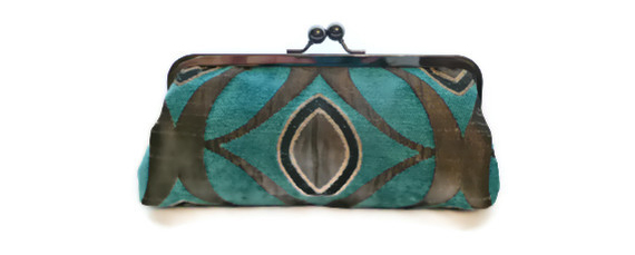 Marine Blue Pewter Grey Clutch Geometric Chicago Fine Threads Purse